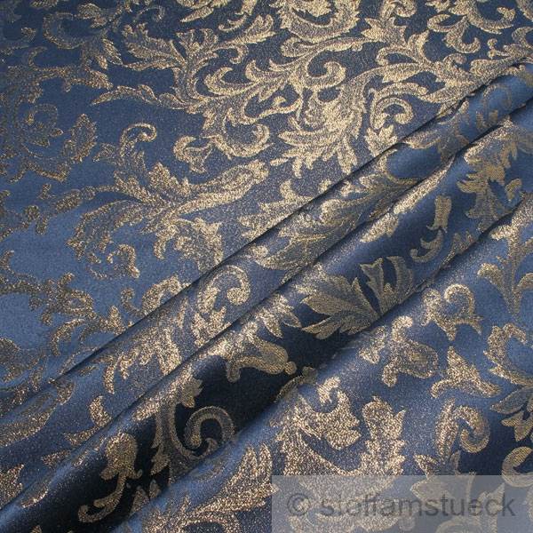 stoff polyester blau jacquard gold lurex goldbrokat barock rokoko 300 cm breit ebay. Black Bedroom Furniture Sets. Home Design Ideas
