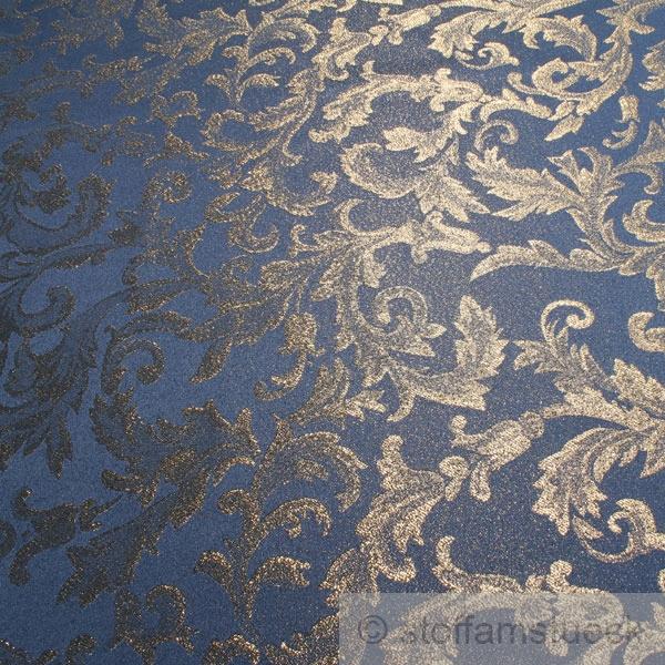 stoff polyester blau jacquard gold lurex goldbrokat barock. Black Bedroom Furniture Sets. Home Design Ideas