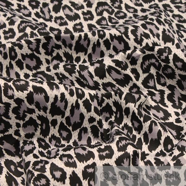 stoff baumwolle lycra k per grau leopard hemd bluse rock animal print. Black Bedroom Furniture Sets. Home Design Ideas