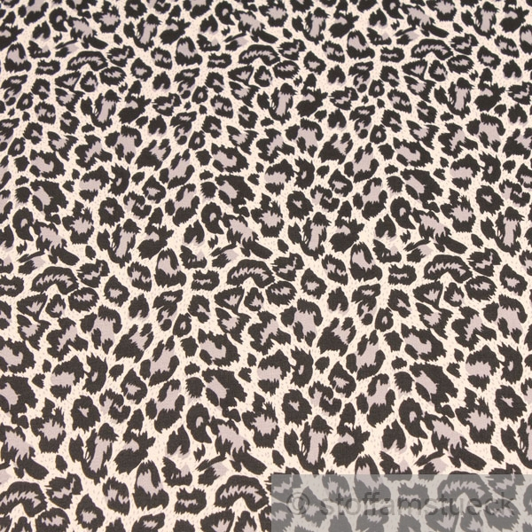 stoff baumwolle lycra k per grau leopard hemd bluse rock animal print ebay. Black Bedroom Furniture Sets. Home Design Ideas
