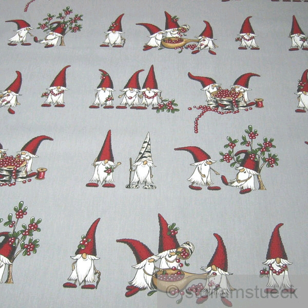 stoff baumwolle rips grau wichtel moosbeere weihnachtsstoff baumwollstoff ebay. Black Bedroom Furniture Sets. Home Design Ideas