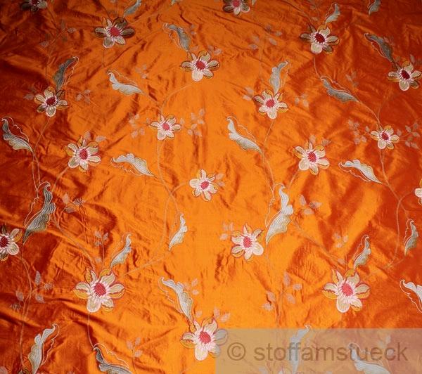 stoff seide baumwolle orange stickerei phantasieblume edel. Black Bedroom Furniture Sets. Home Design Ideas