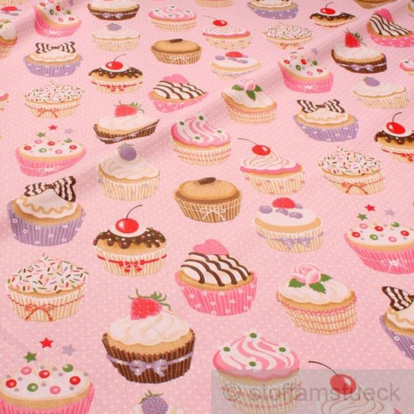 stoff baumwolle rosa muffins p nktchen muffin t rtchen cupcake baumwollstoff ebay. Black Bedroom Furniture Sets. Home Design Ideas