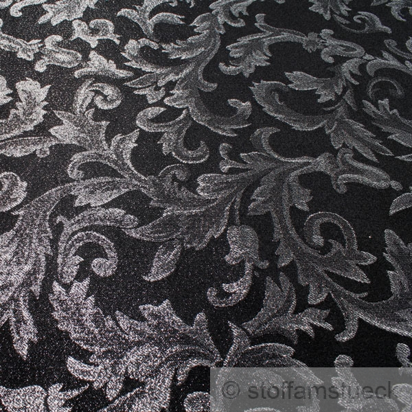 stoff polyester jacquard schwarz silber lurex brokat barock rokoko 300 cm breit ebay. Black Bedroom Furniture Sets. Home Design Ideas