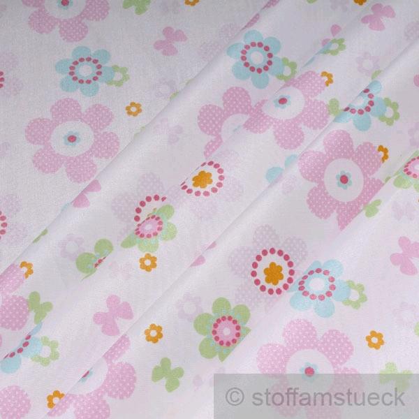stoff baumwolle acryl wei prilblume rosa beschichtet wasserabweisend ebay. Black Bedroom Furniture Sets. Home Design Ideas