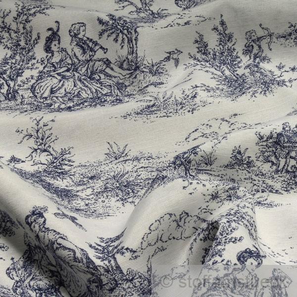 stoff baumwolle polyester toile de jouy l ndliche wei dunkelblau 280 cm breit ebay. Black Bedroom Furniture Sets. Home Design Ideas