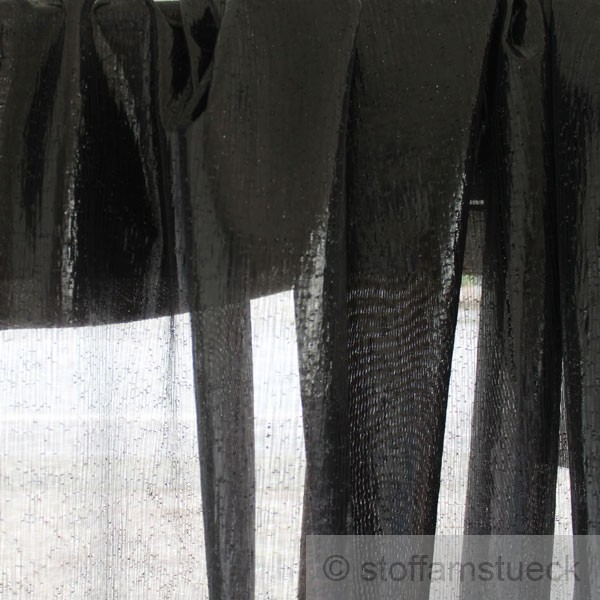 stoff voile schwarz glitzer transparent 298 cm breit gardine vorhang bodenlang ebay. Black Bedroom Furniture Sets. Home Design Ideas