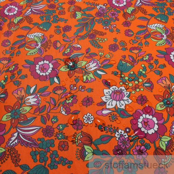 stoff baumwolle acryl orange bunte blumen beschichtet wasserabweisend tischdecke ebay. Black Bedroom Furniture Sets. Home Design Ideas