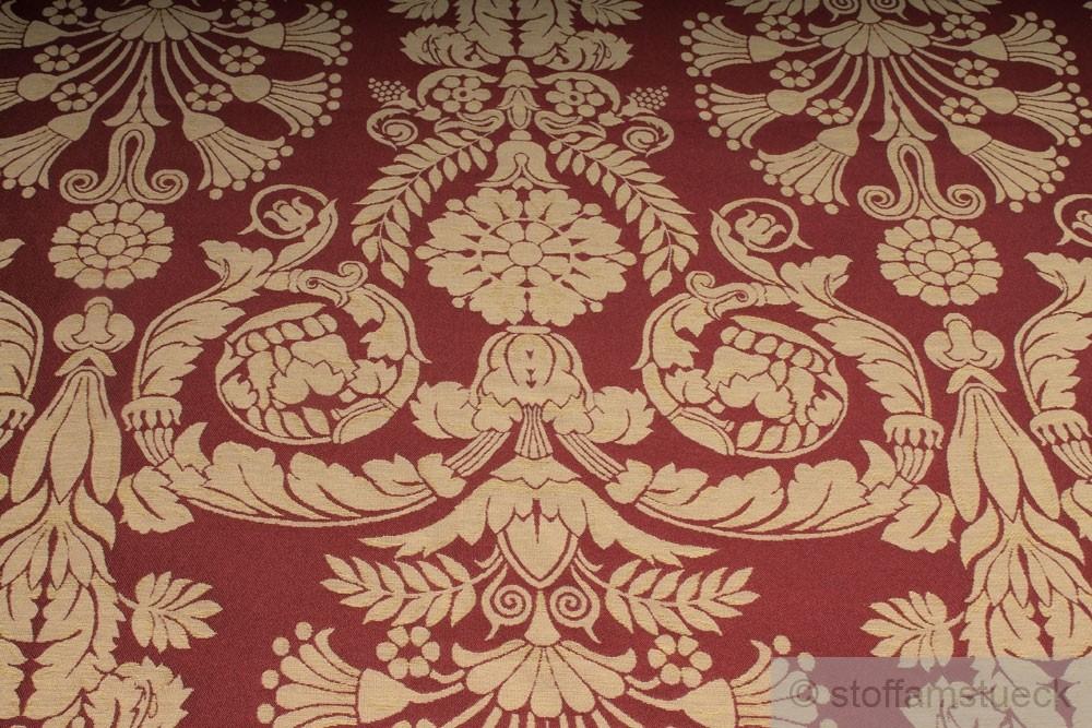 stoff polyester baumwolle jacquard ornament bordeaux gold 280 cm breit ebay. Black Bedroom Furniture Sets. Home Design Ideas