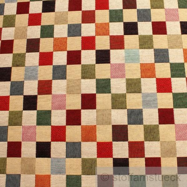 Baumwolle Polyester Acryl Gobelin Karo Klein Bunt