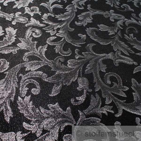 stoff polyester jacquard ornament schwarz silber lurex silberbrokat barock 300 c ebay. Black Bedroom Furniture Sets. Home Design Ideas