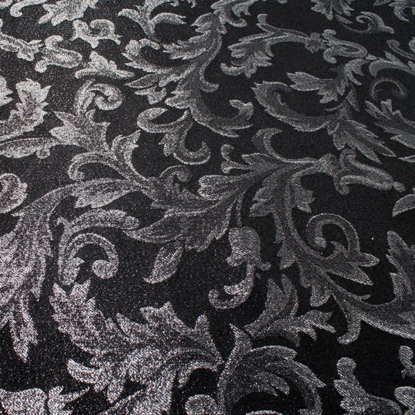 stoff polyester jacquard ornament schwarz silber lurex. Black Bedroom Furniture Sets. Home Design Ideas