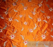 Dupionseide Leinwand orange Stickerei Phantasieblume
