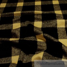 1,5 Meter Polyester / Wolle Flanell Holzfäller Karo gelb schwarz